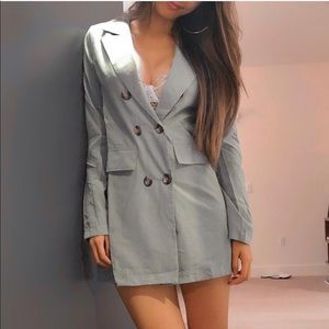 Green blazer dress with buttons front